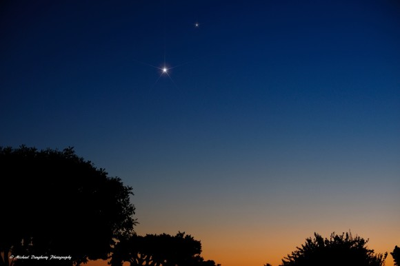 Venus and Saturn as seen by EarthSky Facebook friend Michael Daugherty on September 18.  Thank you, Michael!