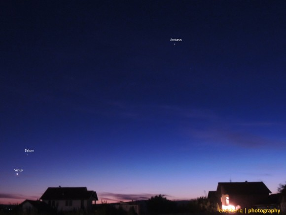 Venus, Saturn and the star Arcturus in the constellation Bootes as captured on September 18 by our friend Enes Keriqi C of the Republic of Kosova.