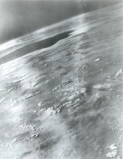 V-2 #21, launched on March 7, 1947, took this picture from 101 miles up. The dark area at the upper left is the Gulf of California. White Sands Missile Range/Naval Research Laboratory.