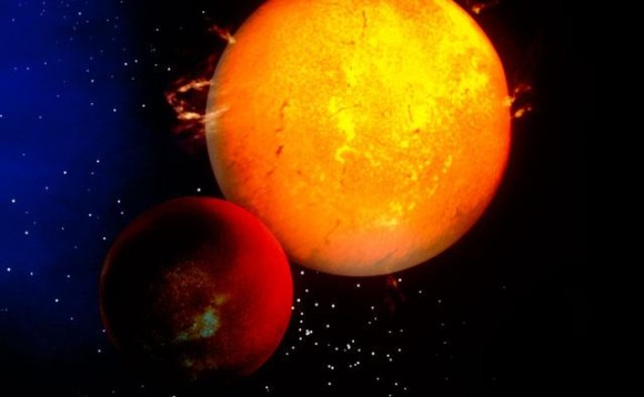 Large red planet circling a sun similar to our own in color and activity.