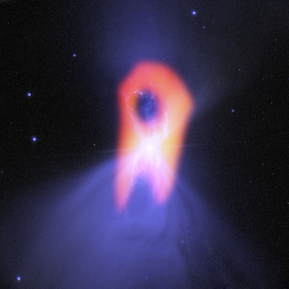 View larger. | Boomerang Nebula seen with ALMA.  Credit: Bill Saxton; NRAO/AUI/NSF; NASA/Hubble; Raghvendra Sahai