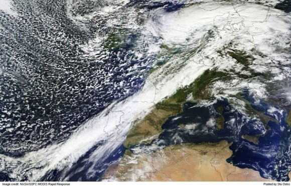 Satellite imagery showing the massive storm system hitting Europe on October 28, 2013. Image Credit: NOAA/MODIS