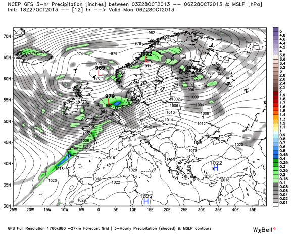 GFS model showing a strong area of low pressure pushing through Europe producing extremely strong winds. Image Credit: Weatherbell
