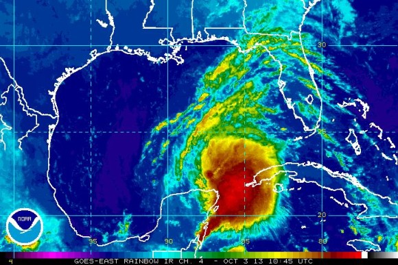 Storm in the Gulf of Mexico could be a major player in the Southeast by the end of this weekend. Image Credit: NOAA