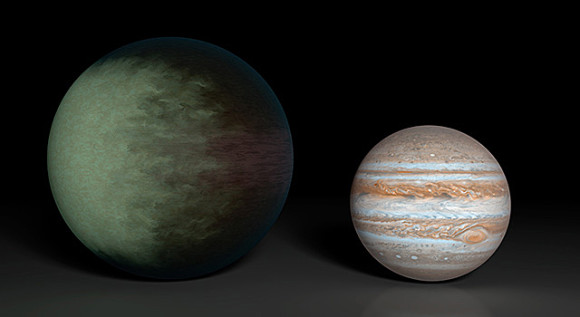 Kepler 7b (left), is 1.5 times the radius of Jupiter (right). Located about 1,000 light-years away, it is the first exoplanet to have its clouds mapped.