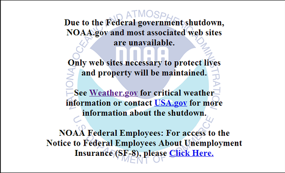 Want to visit a site from NOAA? Well, you might come across this message during the shutdown. Image Credit: NOAA