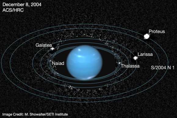 Inner moons of Neptune. Notice that S/2004 N 1, is visible here as a faint dot. Image via SETI Institute.