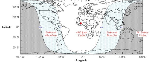 October 18 lunar eclipse map of world