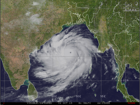 Cyclone Phailin on October 10, 2013. Image Credit: CIMSS