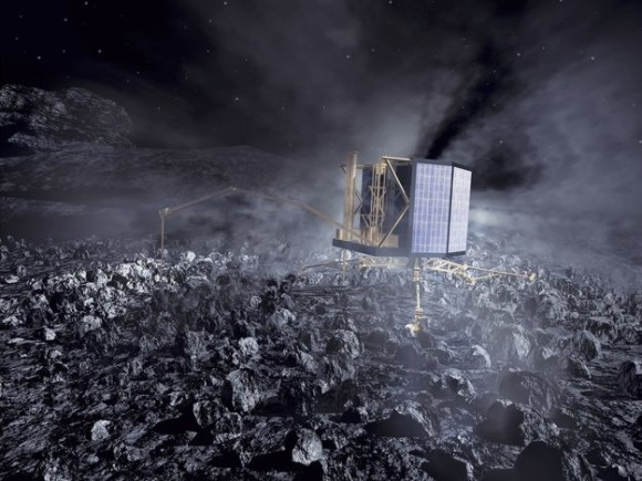 The Philae lander at work on Comet 67P/Churyumov-Gerasimenko. While Rosetta studies the comet from close orbit, Philae will obtain measurements from the surface. Immediately after touchdown in November 2014, a harpoon will be fired to anchor the lander and prevent it from escaping the comet's extremely weak gravity. The minimum targeted mission time for Philae is one week, but surface operations may continue for many months. The measurements from the Rosetta orbiter will last from August 2014 to the end of 2015. Image credit: ESA / AOES Medialab