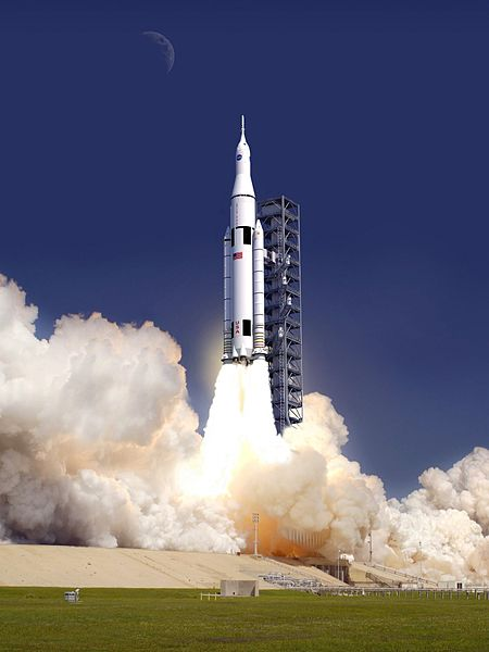 Artist's concept of new heavy launch vehicle, called Space Launch Vehicle. It will carry the Orion spacecraft to orbit. Image via NASA
