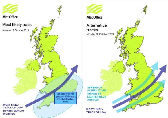 The UK Met Office created this graphic showing where the area of low pressure will push through the country.