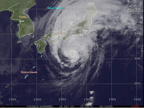 Typhoon Wipha impacting Japan on October 15, 2013. Image Credit: CIMSS