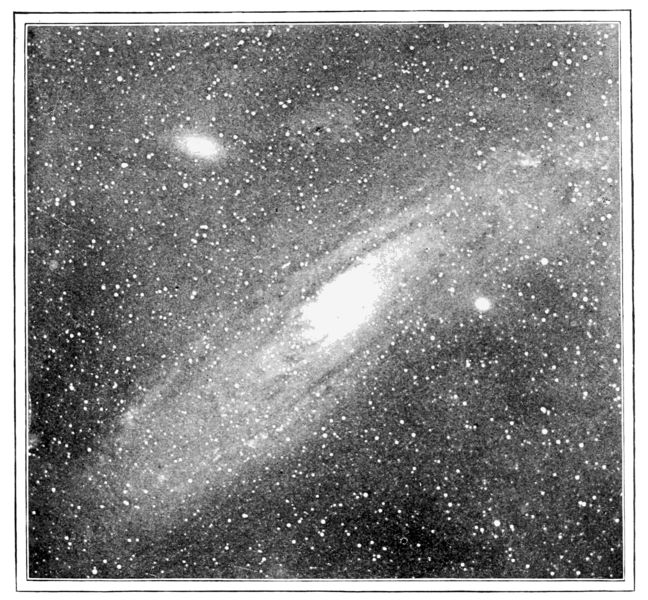 The Great Andromeda Nebula, photographed in the year 1900.  At this point, astronomers could not discern individual stars in the galaxy.  Many thought it was a cloud of gas within our Milky Way - a place where new stars were forming.  Image via Wikimedia Commons.