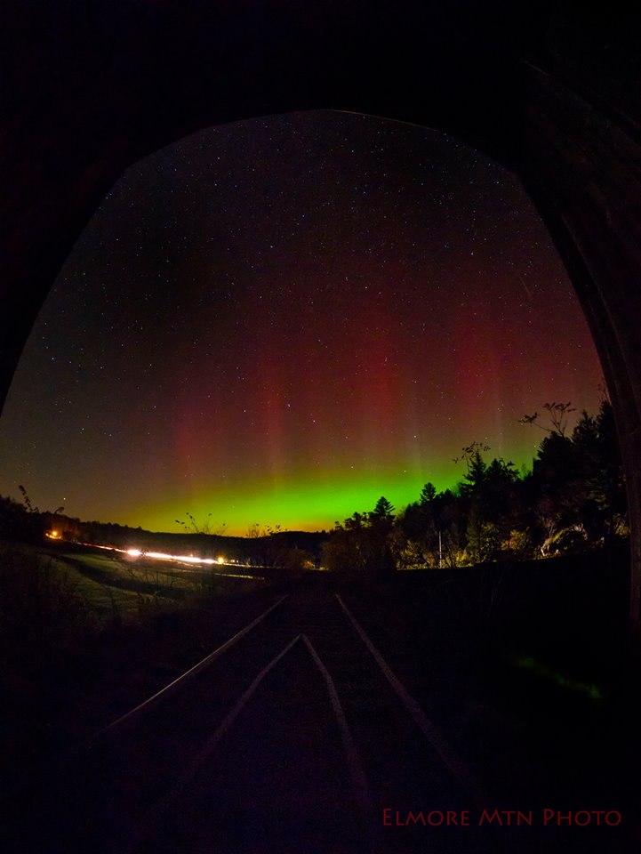 View larger. | Elmore Mountain Photography captured the October 8 aurora, too, as seen from Wolcott, Vermont.    This shot was taken from inside a covered bridge.  Visit Elmore Mtn Photography's page.