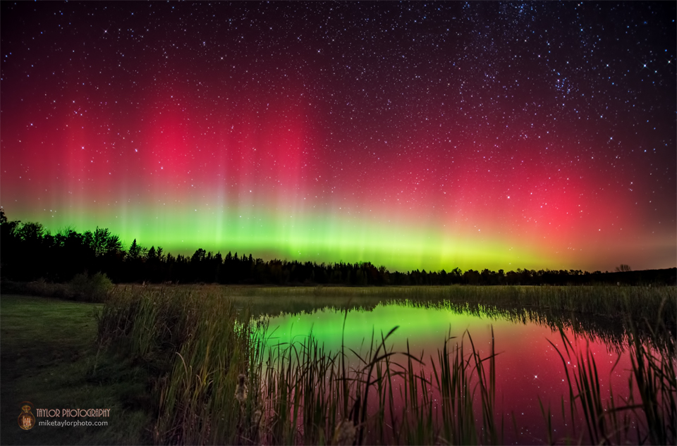 View larger. | Mike Taylor Photography captured this beautiful red and green aurora on October 8, 2013, from Albion, Maine. Visit Mike Taylor on Facebook.