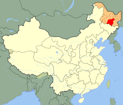 City of Harbin (red) is the capital and largest city of Heilongjiang province in China's northeast region, as well as the 10th most populous city nationally. Image via Wikipedia.