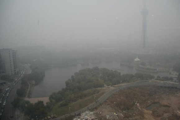 Smog continued across northeast China on Wednesday, October 23. This is the city of Changchun in northeast China. Photo via CNTV via Xinhua News Agency/Lin Hong.