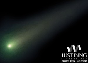 Comet ISON on Oct. 26, 2013 via Justin Ng