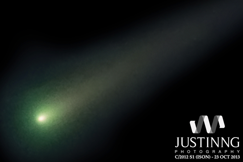 View larger. | Comet ISON on October 26, 2013 by Justin Ng in Singapore. When this photo was taken, the nucleus was still intact. Let's hope it stays that way, and that ISON becomes visible to the eye!