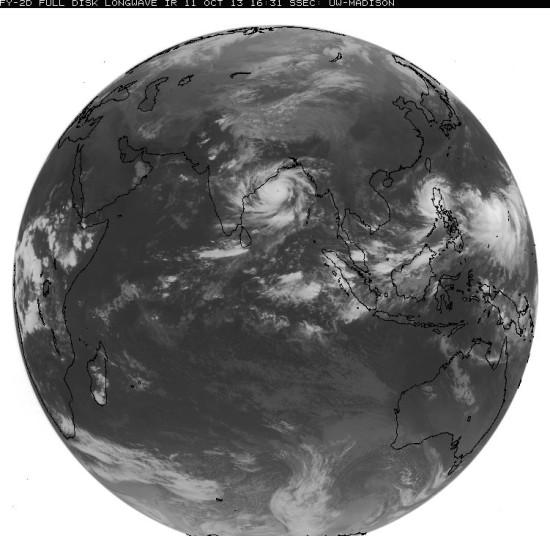 Cyclone Phailin on October 11, 2013 via University of Wisconsin