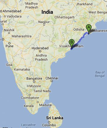 Cyclone Phailin is expected to strike the eastern coast of India, between the two points marked on this map. A is the town of Puri. B is the city of