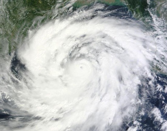 Cyclone Phailin was approaching India's east coast when a NASA satellite acquired this photo on October 11. Image via NASA.