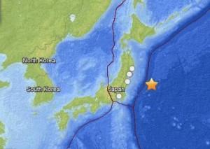 October 26, 2013 earthquake offshore Japan, via USGS
