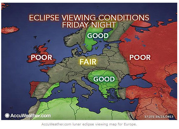 Forecast conditions Friday night - eclipse night - for Europe. Map via Accuweather. Used with permission.