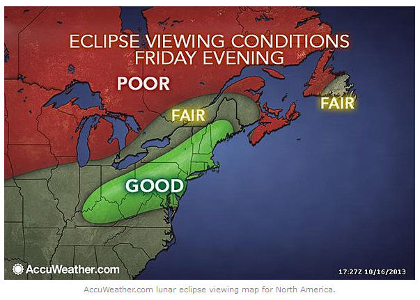 Forecast conditions Friday night - eclipse night - for the northeastern U.S. and Canada. Map via Accuweather. Used with permission.
