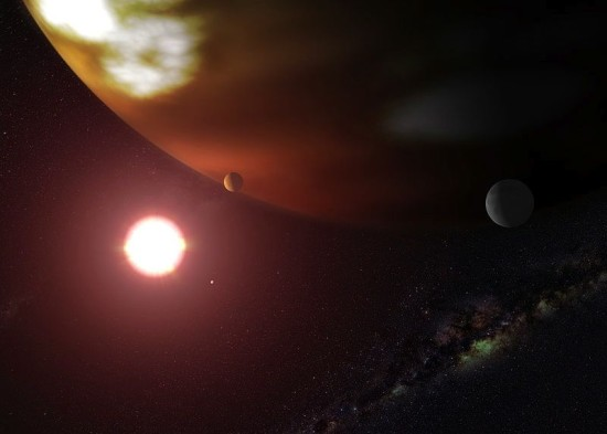 This is an artist's concept of a gas giant planet orbiting the cool, red dwarf star Gliese 876, located 15 light-years away in the autumn constellation Aquarius.
