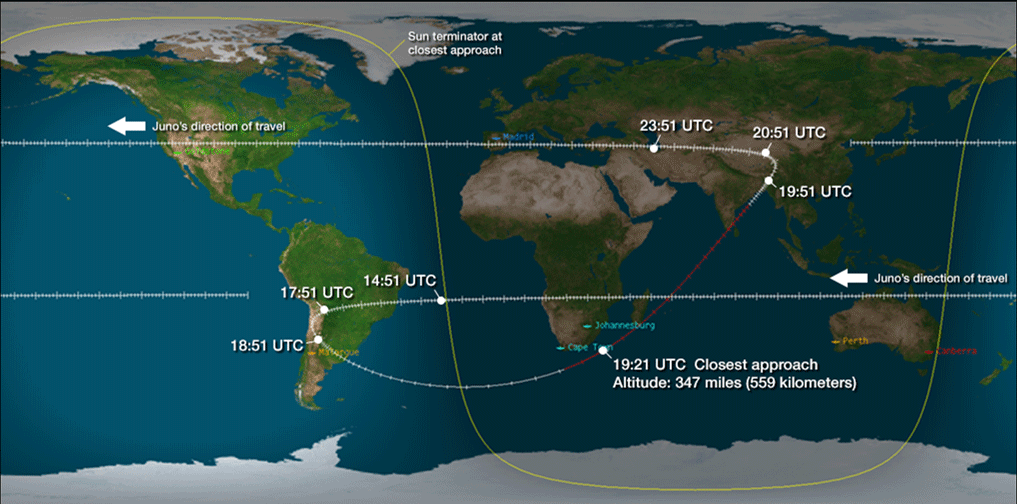 View larger.   Here is the track above Earth during Juno's Earth-approach on October 9, 2013. The spacecraft will not be visible to the eye. Image via SpaceWeather.com.