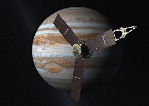 Artist's concept of Juno spacecraft near Jupiter via NASA.
