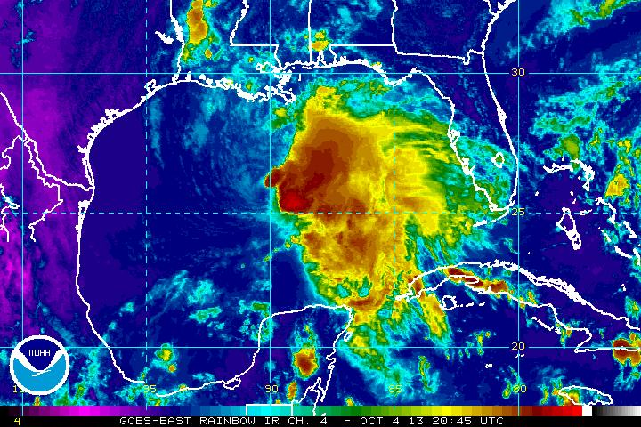 Infrared image of Tropical Storm Karen. Most of the storms are located east of the center of the storm. Image Credit: NOAA