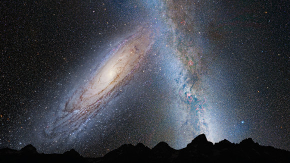 This illustration shows a stage in the predicted merger between our Milky Way galaxy and the neighboring Andromeda galaxy, as it will unfold over the next several billion years. In this image, representing Earth's night sky in 3.75 billion years, Andromeda (left) fills the field of view and begins to distort the Milky Way with tidal pull.  Via NASA; ESA; Z. Levay and R. van der Marel, STScI; T. Hallas; and A. Mellinger.