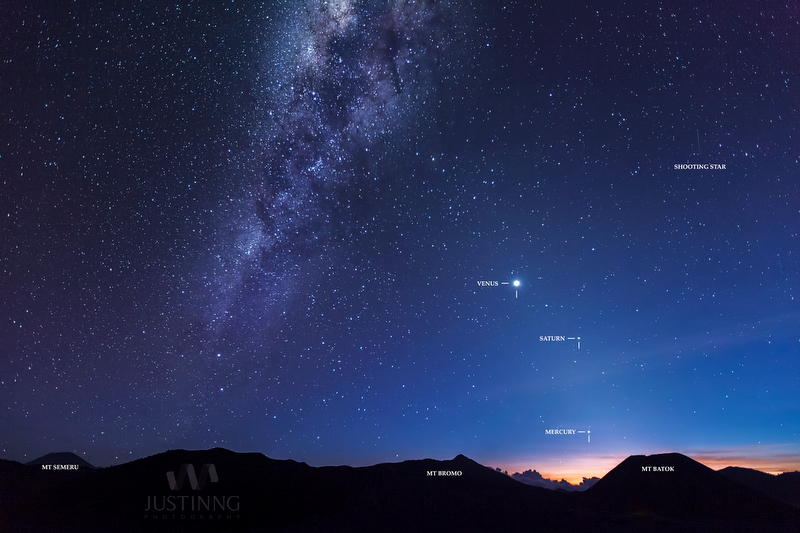 Milky Way on left, and faint zodiacal light on right, with planets Venus, Saturn and Mercury in front of the light. Photo taken at Mount Bromo in Indonesia on September 28, 2013 by Justin Ng. Click here to see more photos by Justin Ng.