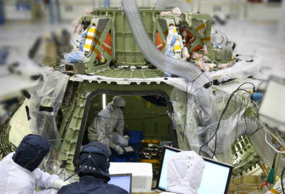 Orion's avionics system was installed on the crew module and powered up for a series of systems tests at NASA's Kennedy Space Center in Florida last week. Image credit: Lockheed Martin.