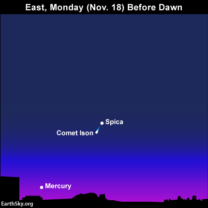 Comet ISON will share the same binocular field with the bright star Spica on the mornings of November 17 and 18. This is the view for the 18th. Look east before dawn.