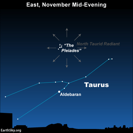 Star chart with constellation Taurus and radial arrows near small cluster of stars.