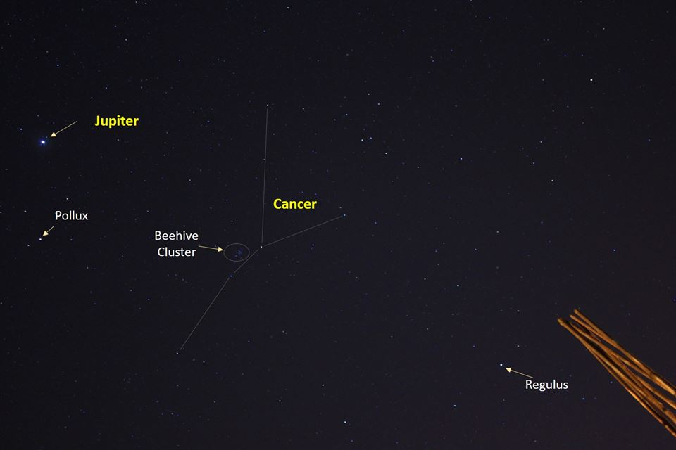 View larger. | EarthSky Facebook friend Billoy Baluso in the Philippines kindly provided this photo of the part of the night sky containing the objects mentioned in this post: Jupiter, star Regulus and Beehive star cluster.  Comet Lovejoy isn't shown, but it's near the Beehive.  Thank you, Biloy!