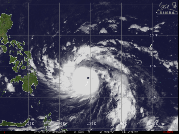 Super Typhoon Haiyan on November 6, 2013. Image Credit: CIMSS
