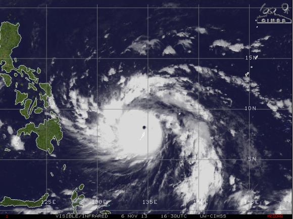 Super Typhoon Haiyan on November 6, 2013. Image Credit: CIMSS