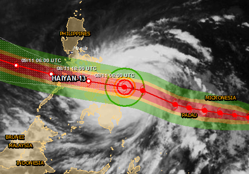 Haiyan is not expected to strike Manila directly. However, the forecast tracks suggest it will pass very near Tacloban, a city of a quarter million people, and Cebu, a city of nearly one million people.