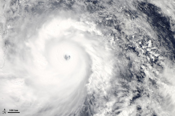 NASA's Aqua satellite acquired this natural color image of Super Typhoon Haiyan as it approached the east coast of the Philippines. Image was acquired at 1:25 p.m. local time (4:25 Universal Time) on November 7, 2013. Image via NASA.