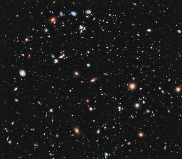 Hubble eXtreme Deep Field, released September 25, 2012.  Composed of 10 years of previous images, it shows galaxies from 13.2 billion years ago.