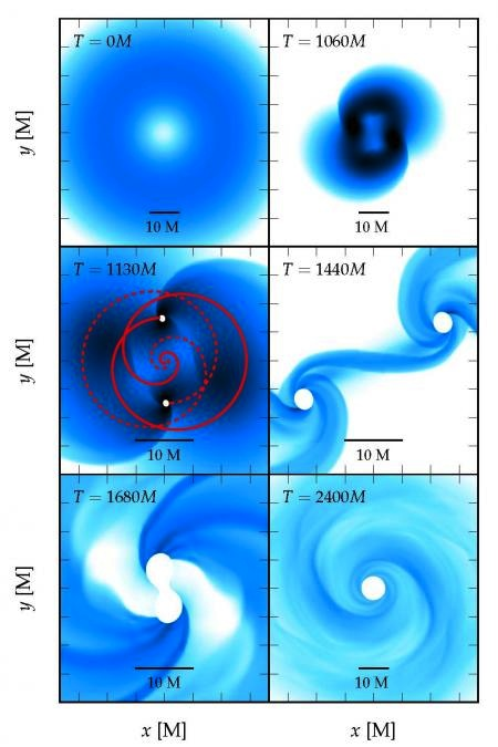 The various stages encountered during the collapse of a fragmenting supermassive star. Each panel shows the density distribution in the equatorial plane. The star is so rapidly spinning that the configuration at the onset of the collapse (upper left panel) is quasi-toroidal (the maximum density is off-centered thus producing a ring of maximum density). The simulation ends after the black hole has settled (lower right panel). Credit: Christian Reisswig/Caltech