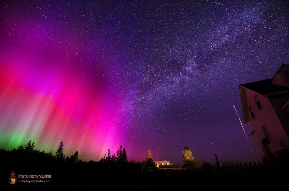 What the camera sees.  Northern Lights & Milky Way at Pemaquid by Mike Taylor.