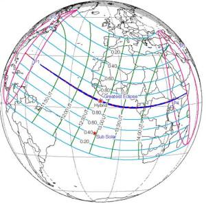 World map of 2013 November 3 solar eclipse
