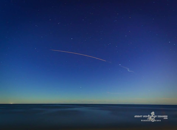 ORS-3 launch as captured by Michael Busch. Notice the smoke trail. Thanks, Michael!