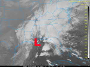 Infrared Satellite image of the storm brewing in the Southeast on November 26, 2013. Image Credit: GOES/College of Dupage